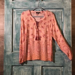 Anthropologie Sanctuary Boho Top, L/S, Coral, S